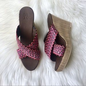 NY & Company Wedge Heel in Pink & Brown | EUC